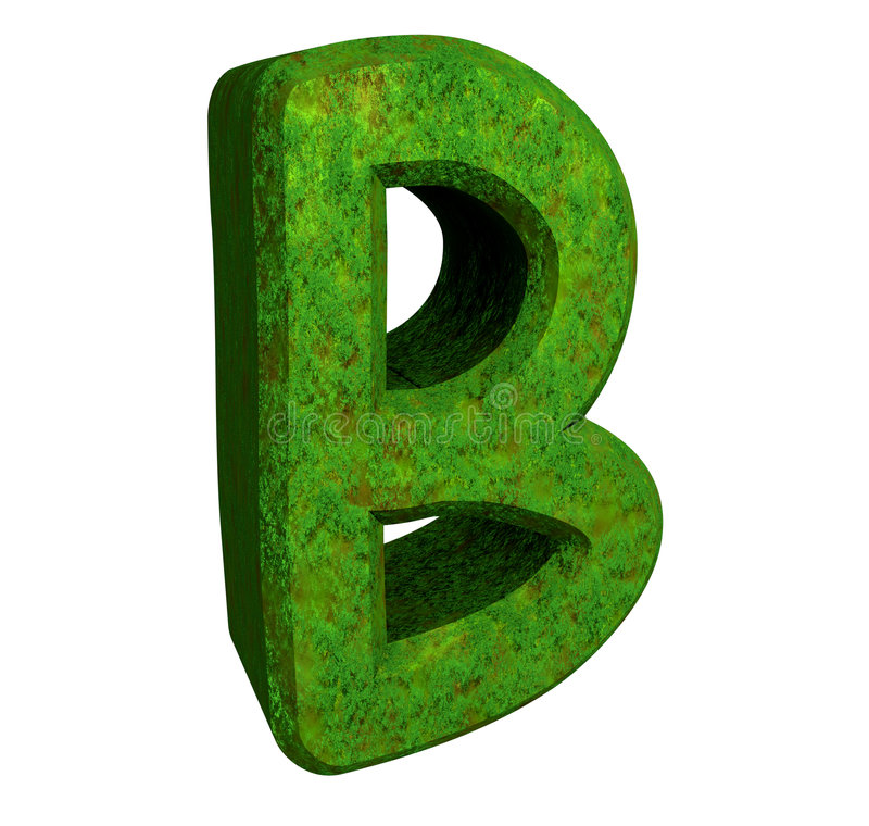 3d letter B in green grass stock illustration