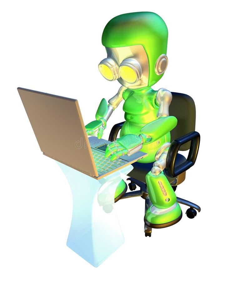 3d leuk groen robotkarakter dat laptop PC met behulp van vector illustratie