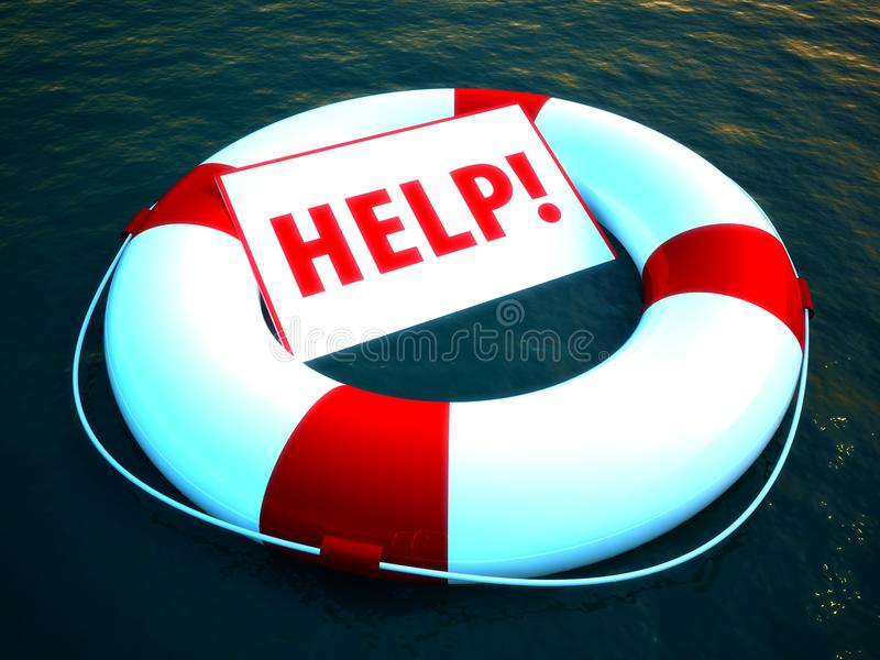 3d life ring floating on water as a help symbol