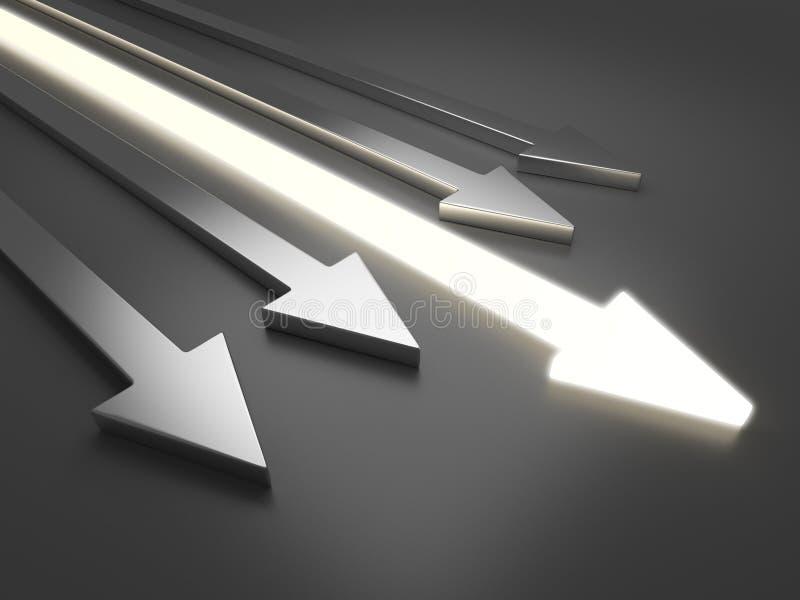 3D light arrow. Competition concept stock illustration