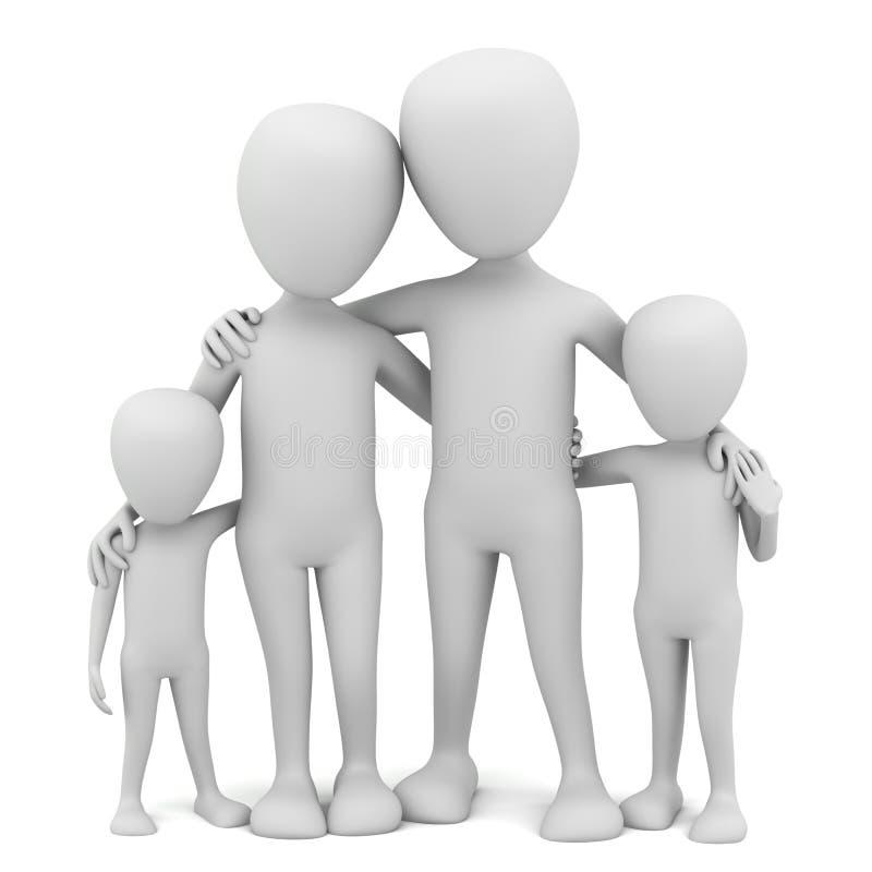 3d litet folk - familj. stock illustrationer