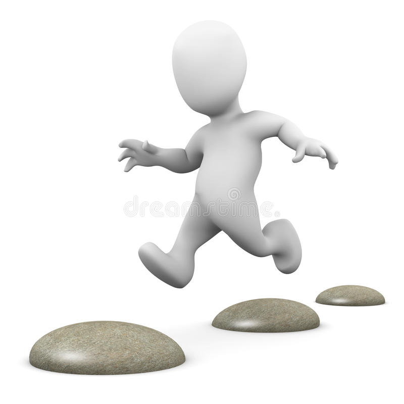 Free 3d Little Man Hopping Over Stepping Stones Royalty Free Stock Photos - 44885438