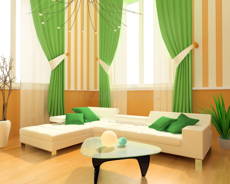 3D Living Room Royalty Free Stock Photo