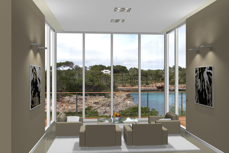 3D Living Room With Fantastic View Royalty Free Stock Images