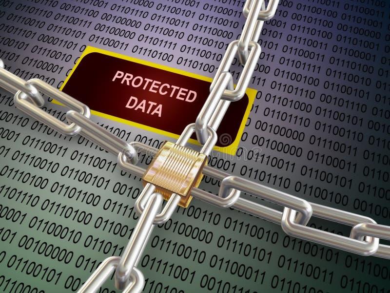 3d locked protected data vector illustration