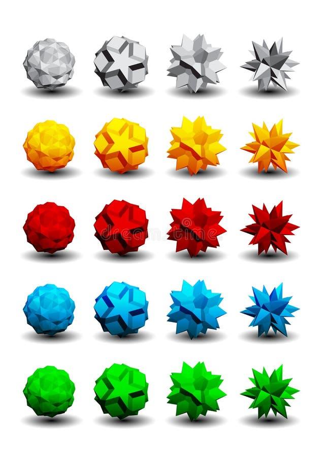 Download 3D logos set stock vector. Illustration of cubic, element - 26520559