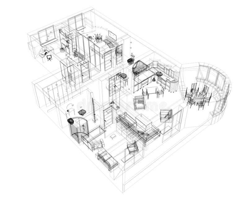 3d lokal för lägenheten fyra skissar stock illustrationer