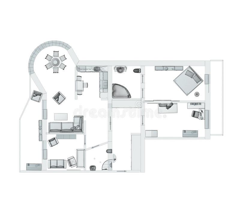 3d lokal för lägenheten fyra skissar vektor illustrationer