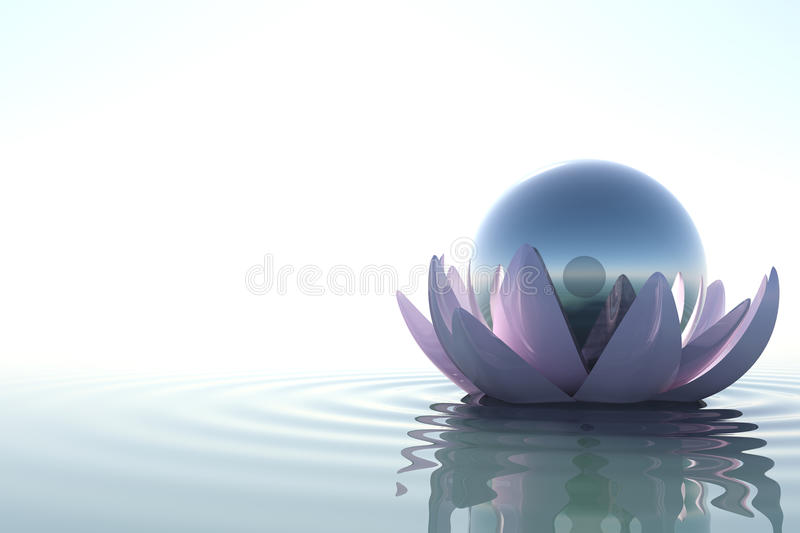 3D lotus on water royalty free illustration