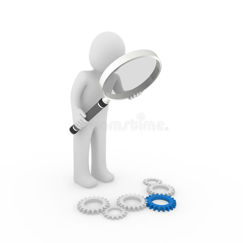 3d loupe gear blue. 3d magnifying glass gear blue maschine search loupe royalty free illustration