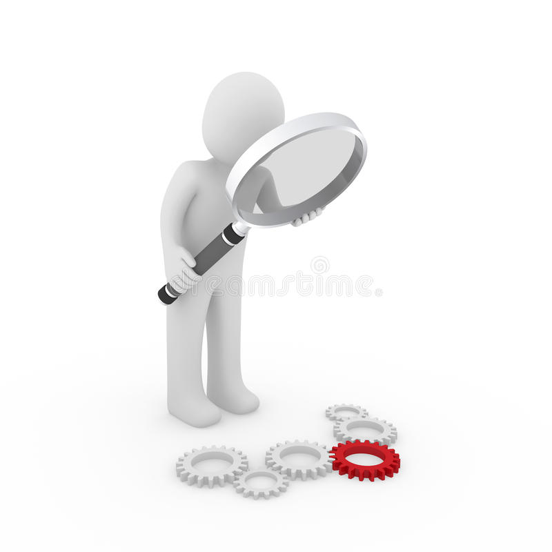 3d loupe gear red. 3d magnifying glass gear red maschine search loupe stock illustration