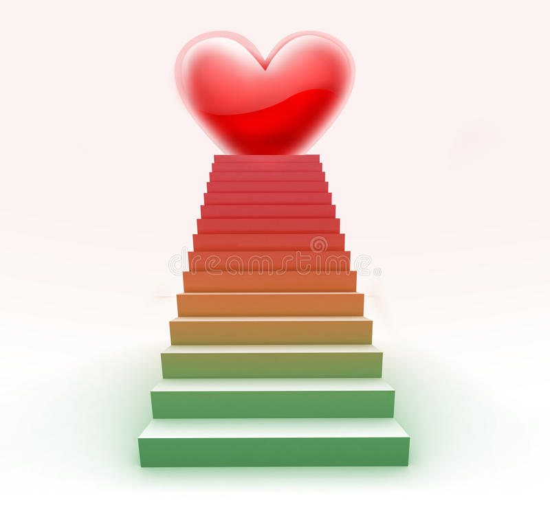 3D Love Staircase stock photo