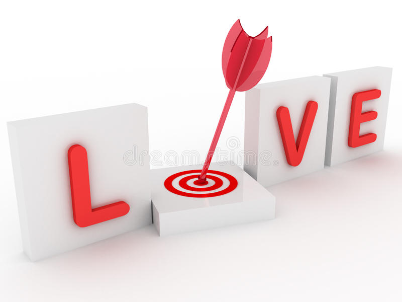 3d love with target vector illustration