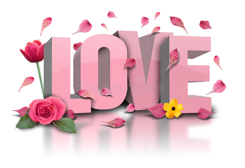 3D Love text with Flowers on White stock photo