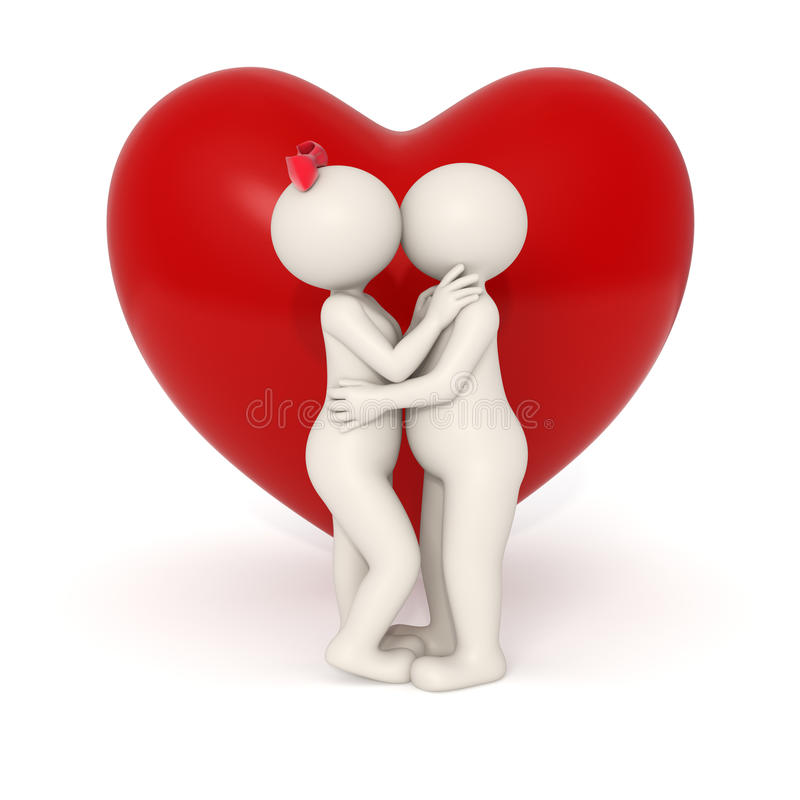 3d lovers kissing stock photos