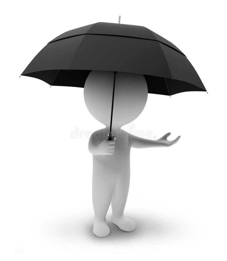 3d ludzie małych parasoli royalty ilustracja