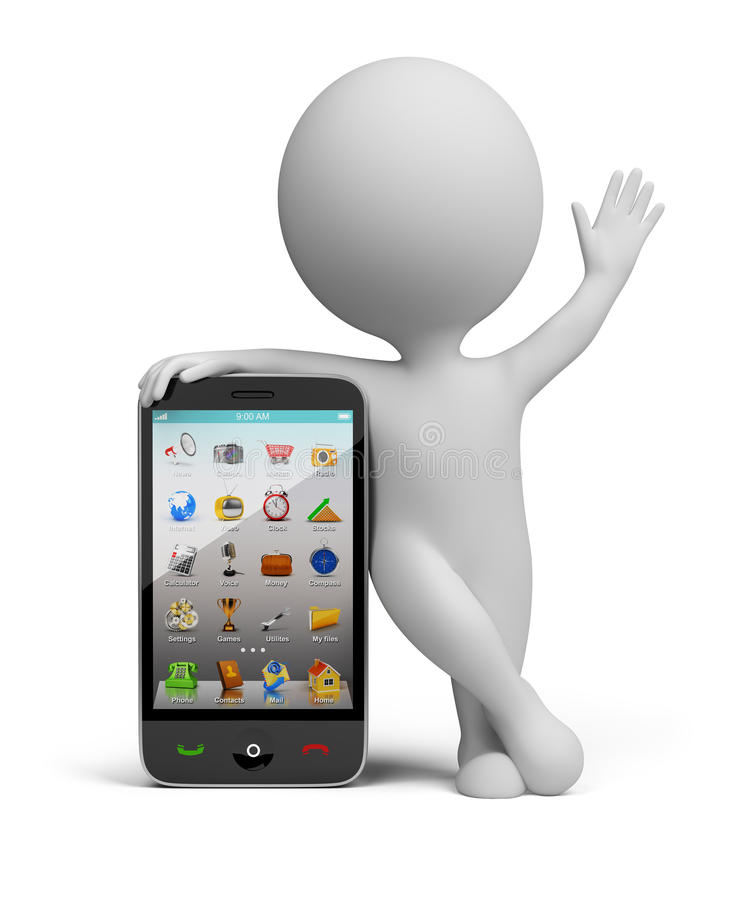 3d ludzie małych smartphone ilustracji