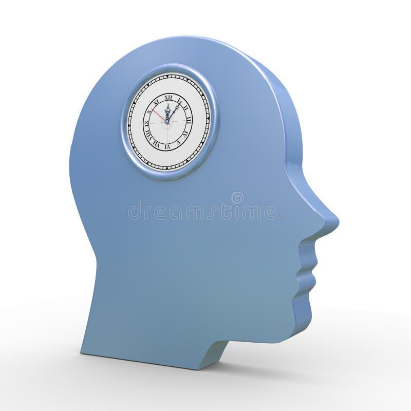 3d ludzka głowa i zegar ilustracji