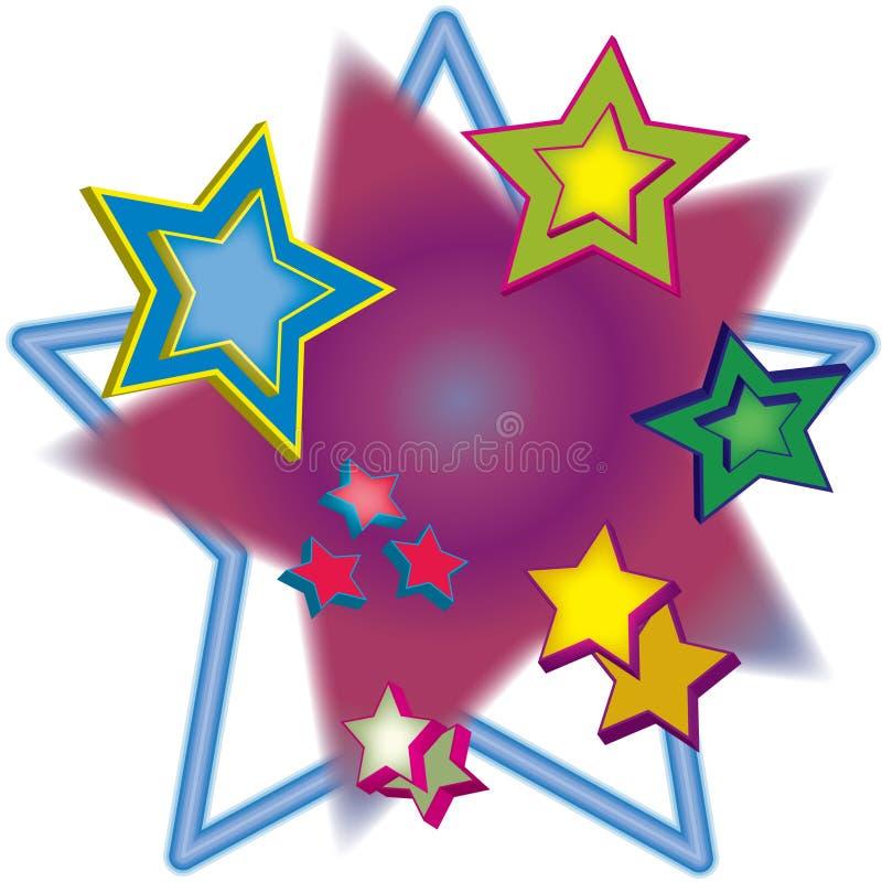 3D múltiplo Stars a ilustração ilustração do vetor