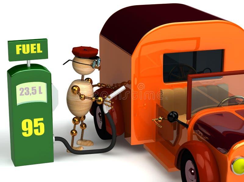 3d mężczyzna dystrybutoru paliwowa drewno ilustracji