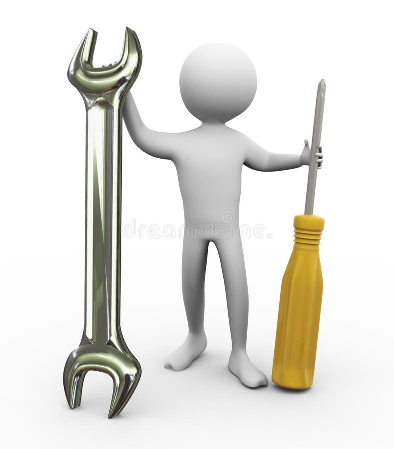 3d mężczyzna naprawiania narzędzia ilustracji