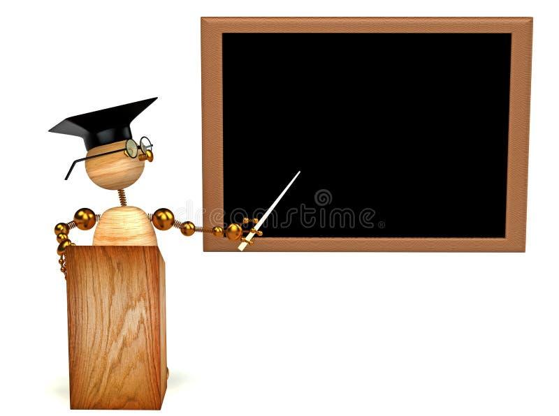 3d mężczyzna nauczyciela drewno royalty ilustracja