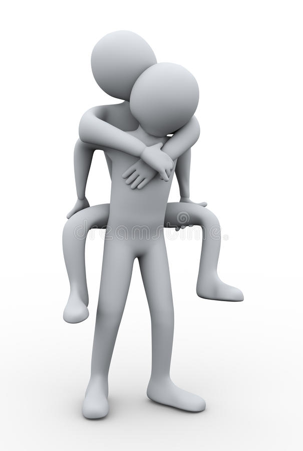 3d mężczyzna piggyback royalty ilustracja