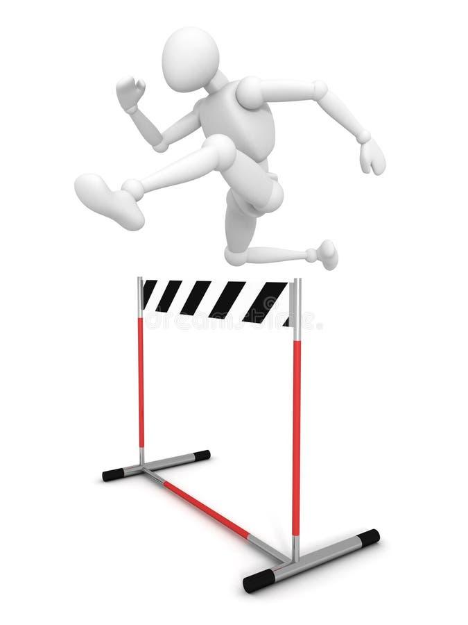 3d mężczyzna skacze nad przeszkody barierą royalty ilustracja