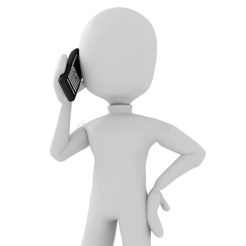 3d mężczyzna telefonu mówienie ilustracja wektor