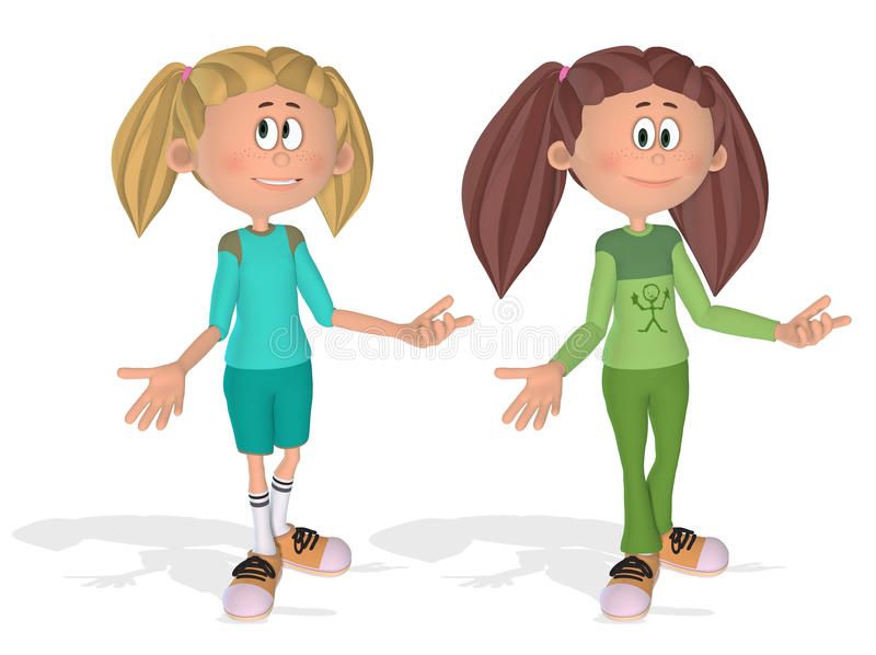 3d młode śliczne kreskówek dziewczyny ilustracji