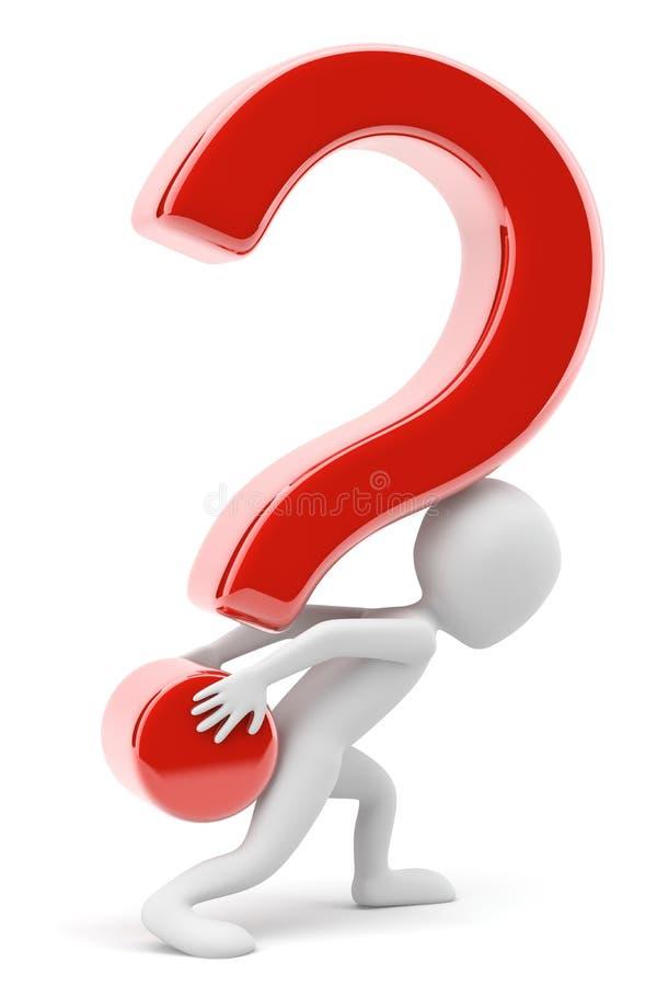 3d mała osoba niesie ciężkiego pytanie. ilustracji