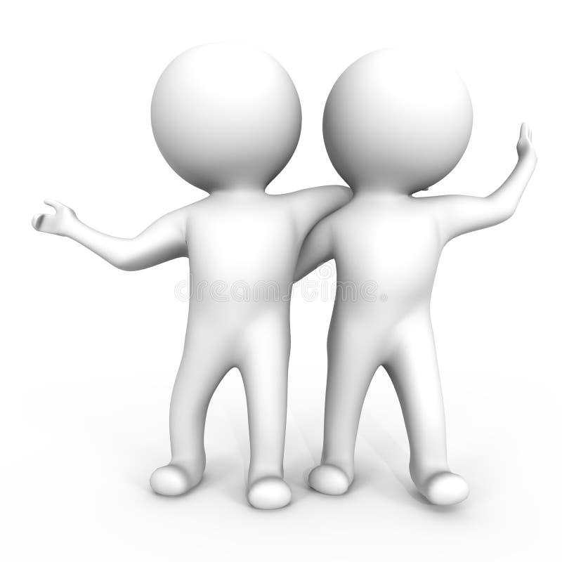 3d ma wizerunek przyjaciel zabawa dwa ilustracja wektor