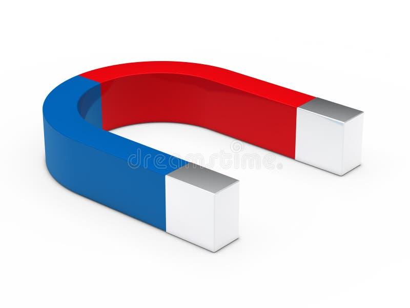 3d magnes błękitny czerwień ilustracja wektor
