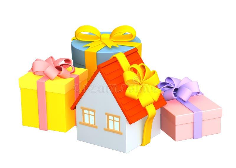 3d maison - cadeau, enveloppant une bande lumineuse illustration libre de droits