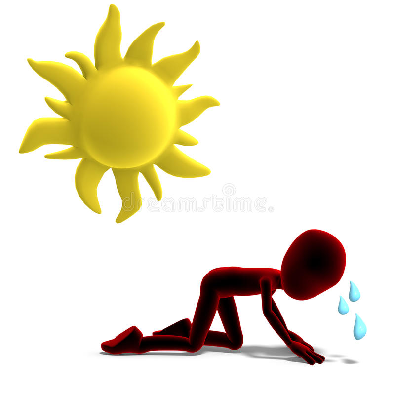 3d Male Icon Toon Character Sweating In The Sun Royalty Free Stock Photo