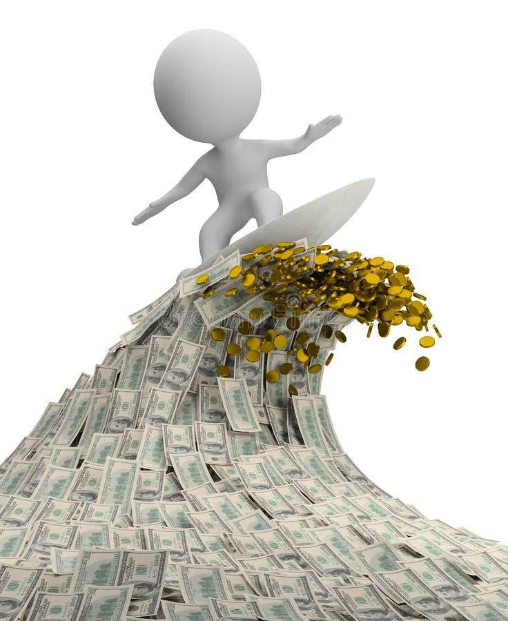 3d mali ludzie - fala pieniądze ilustracja wektor