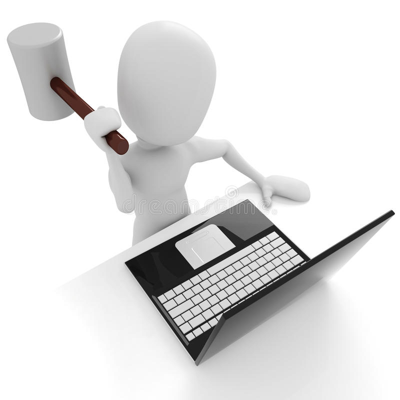 3d man angry on his laptop - isolated on white royalty free illustration