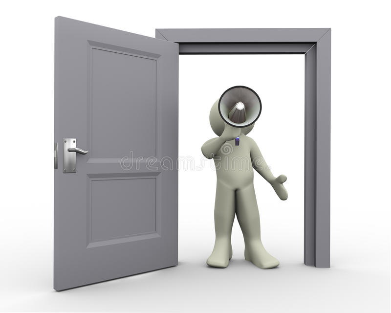 3d man announcement at open door royalty free illustration