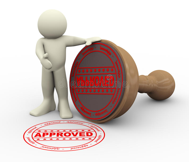 3d man and approved rubber stamp stock illustration