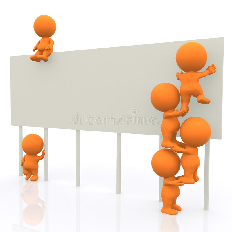 Download 3D man around big banner stock illustration. Image of panel - 13881998