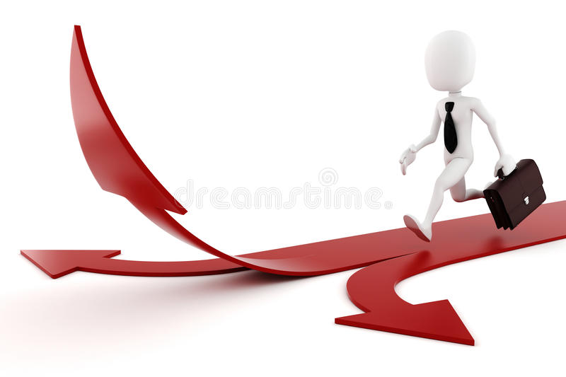 3d Man On Arrow-competition Concept Royalty Free Stock Photography