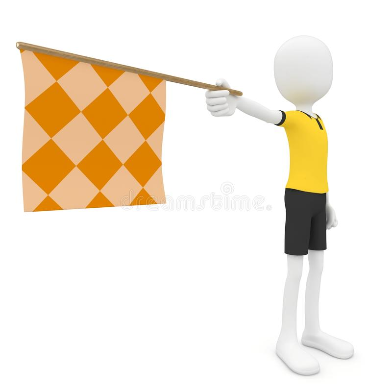 3d Man Assistant Referee With Flag Stock Images