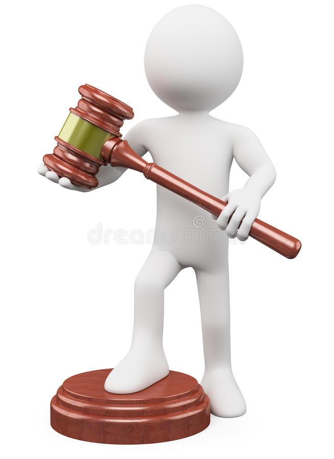 3D man with a auction hammer stock illustration
