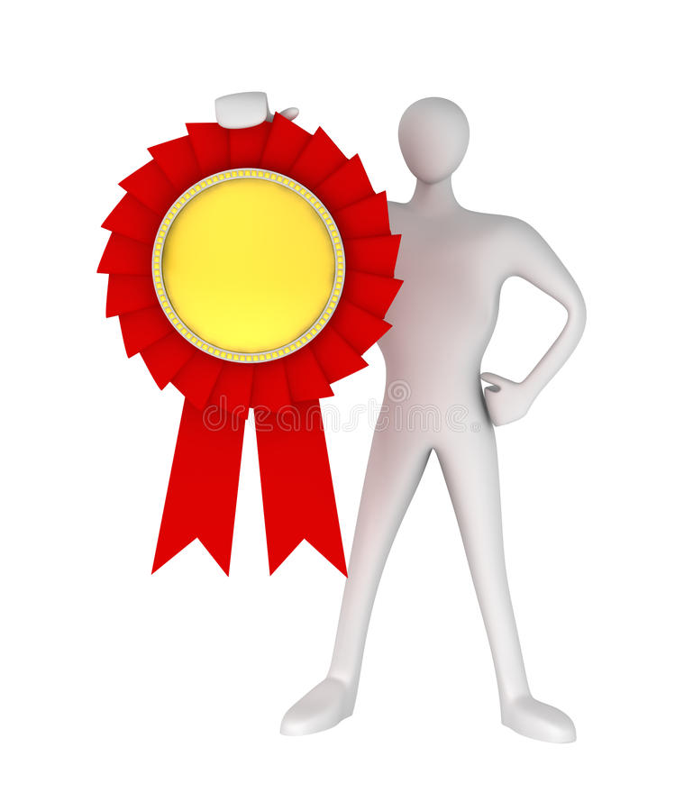 3D Man With An Award Medal Stock Images