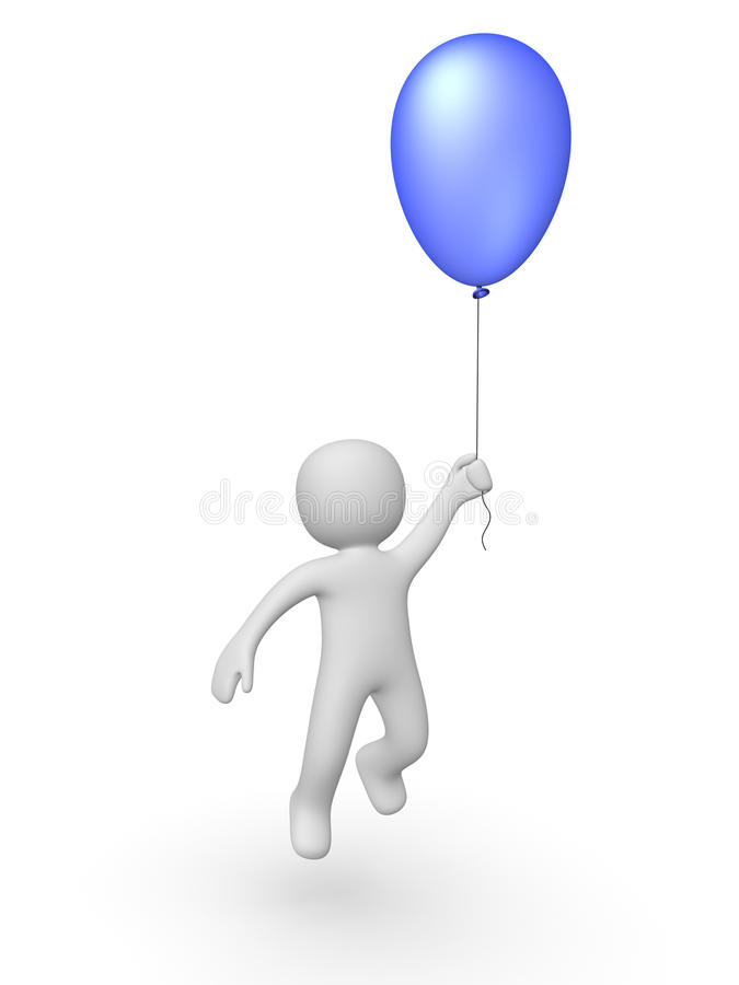 Download 3d man with a balloon stock illustration. Image of free - 21176390