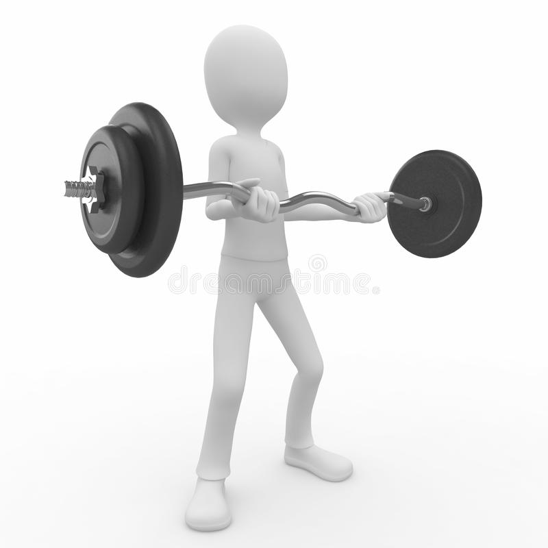 Download 3d man with barbell stock illustration. Image of health - 16092162