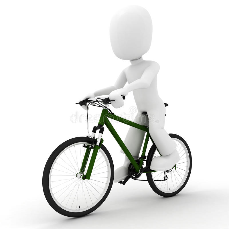 Download 3d Man And  Bicycle Studio Render On White Stock Illustration - Illustration: 13372766