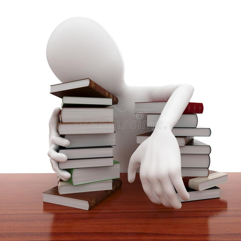 Download 3d Man With Books Sleeping Tired Stock Illustration - Image: 18397842