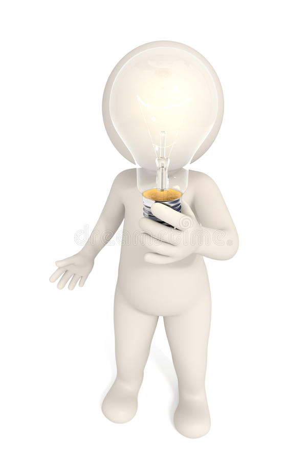 3d man - Bulb solution vector illustration