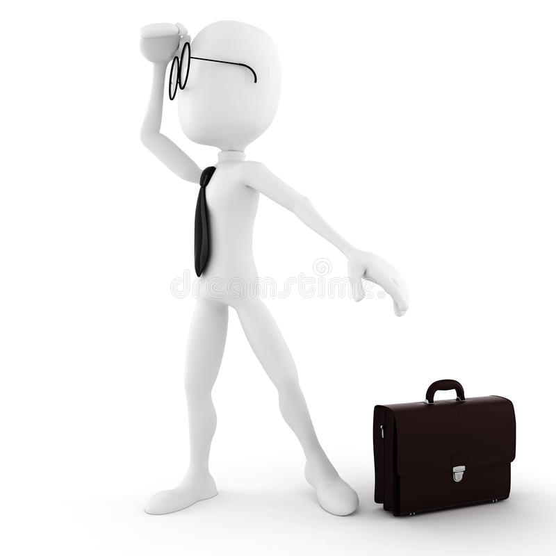 3d man businessman looking for job opportunity. 3d man looking for job opportunity vector illustration